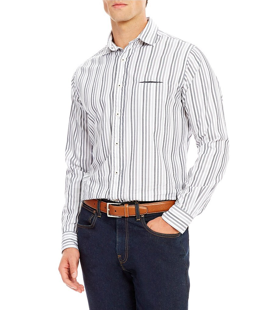 Cremieux Grandeur Nights Collection Long-Sleeve Slim-Fit Stripe Woven Shirt