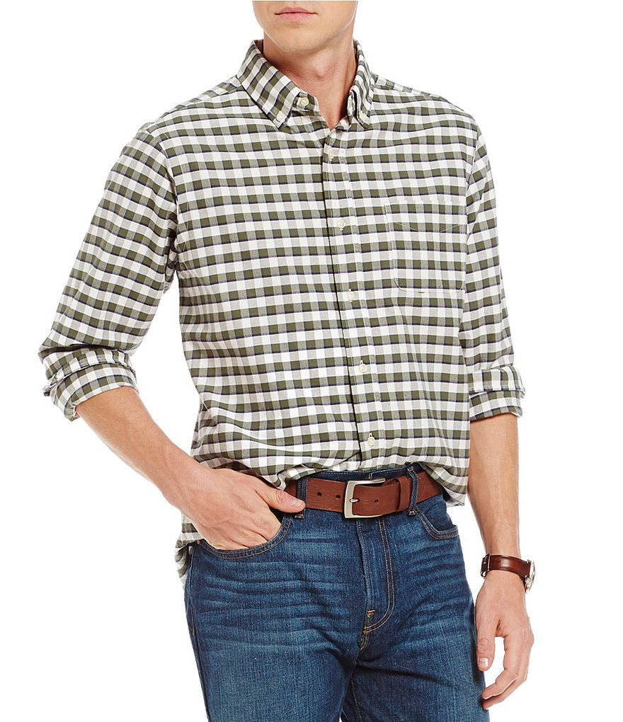 Cremieux Long-Sleeve Checked Oxford Woven Shirt