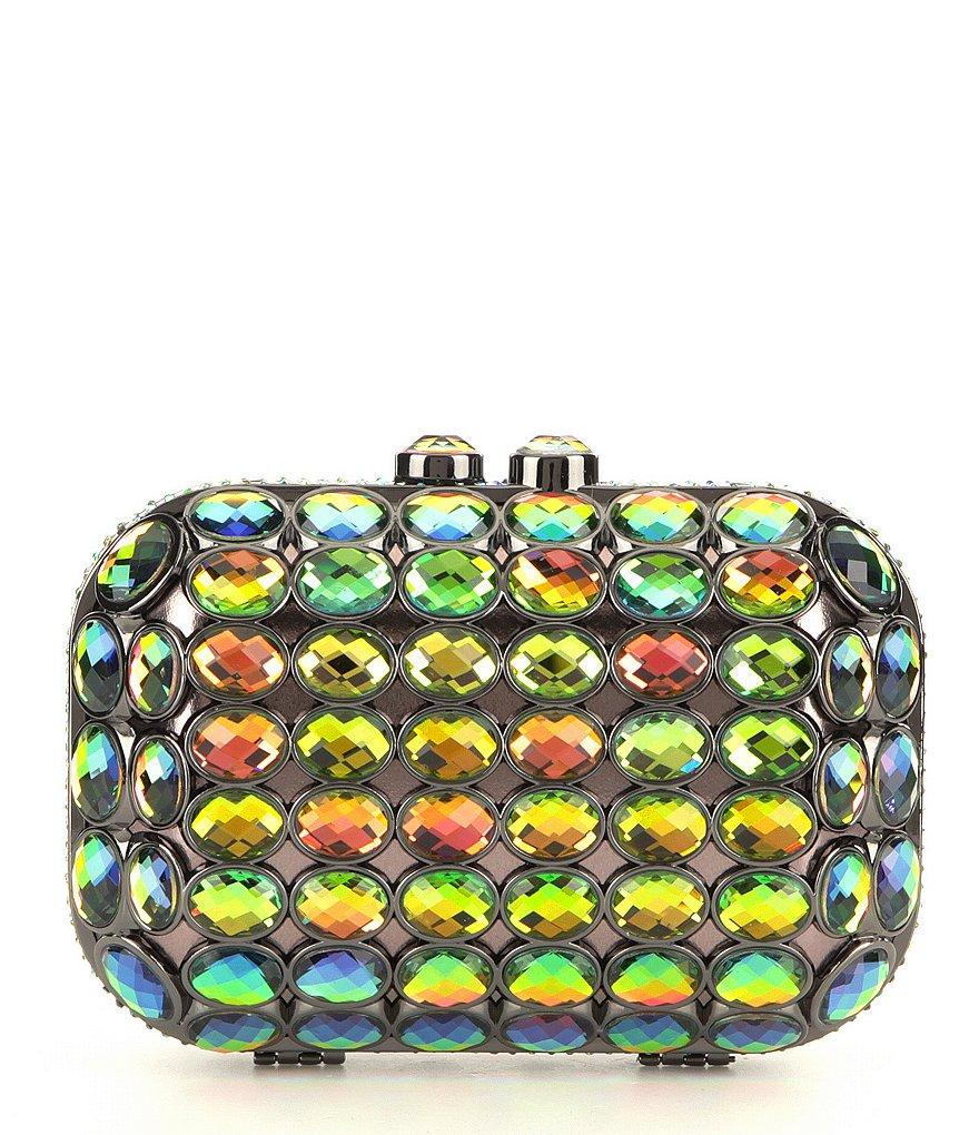 Kate Landry Iridescent Stone Frame Clutch