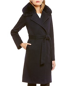 Katherine Kelly Fox Fur-Trim Notch Collar Wrap Coat