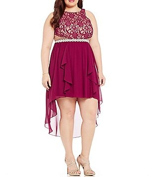 Jodi Kristopher Plus Glitter Lace Bodice High-Low Hem Dress