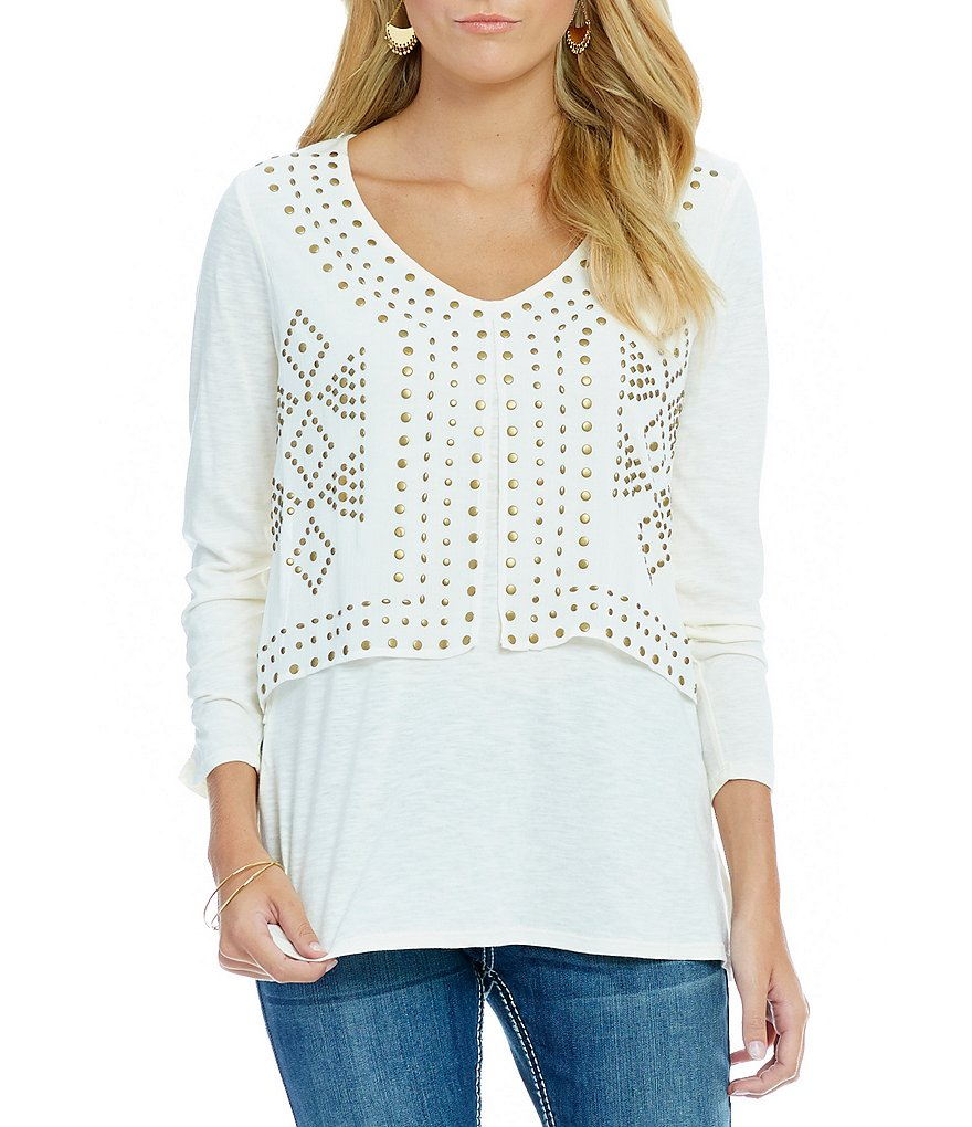 Reba Desert Sky Stud Two-Fer V-Neck Top