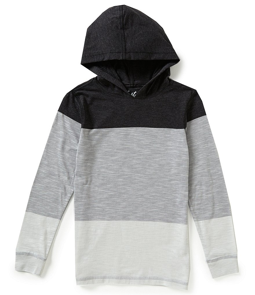 First Wave Big Boys 8-20 Wide Striped Hooded Shirt