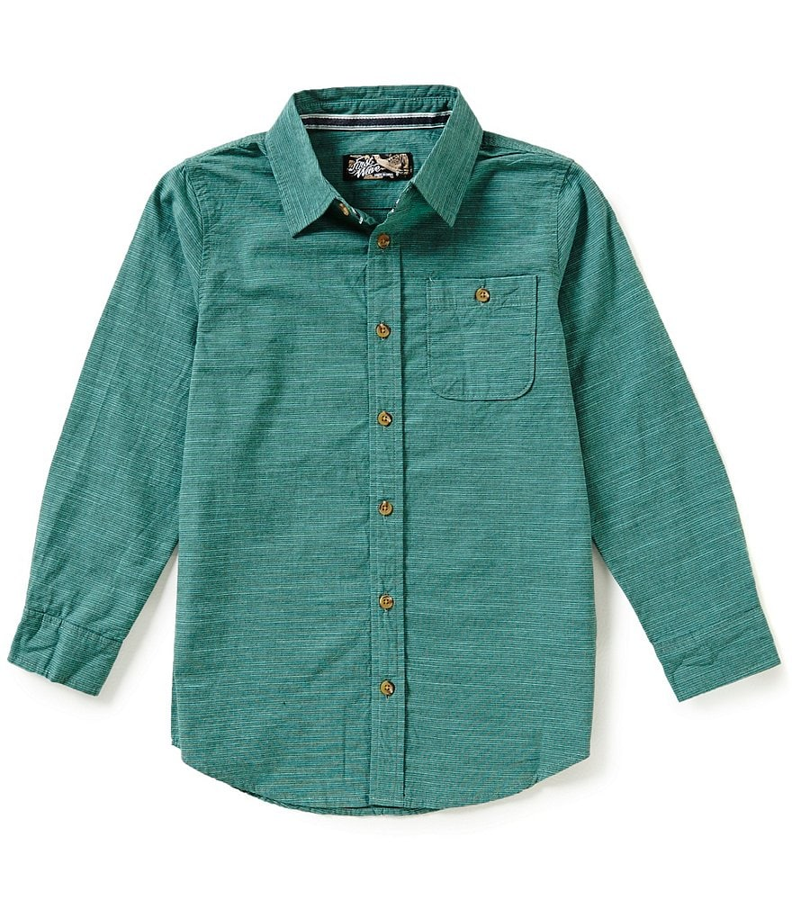 First Wave Big Boys 8-20 Long-Sleeve Striped Woven Button-Down Shirt
