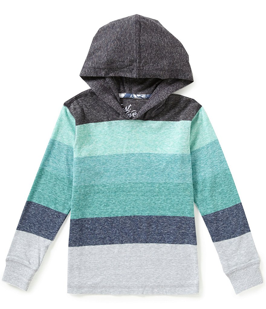 First Wave Little Boys 2T-7 Striped Hooded Shirt