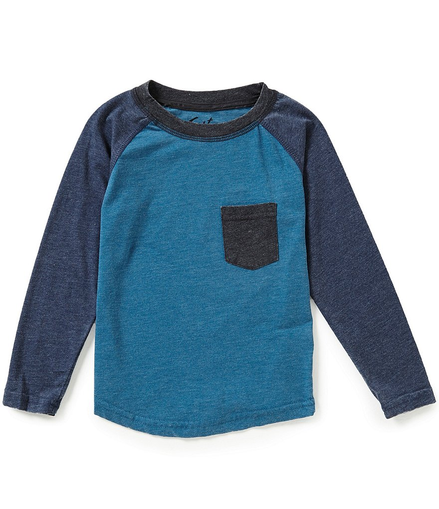 First Wave Little Boys 2T-7 Burn Out Color Blocked Long-Sleeve Raglan Tee