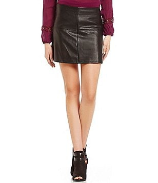 Jolt Faux-Leather Circle Skirt