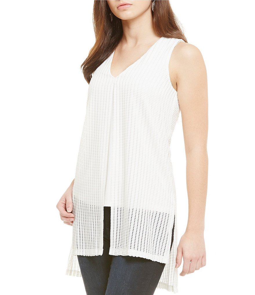 Nicola Split Front Sleeveless Tank Blouse