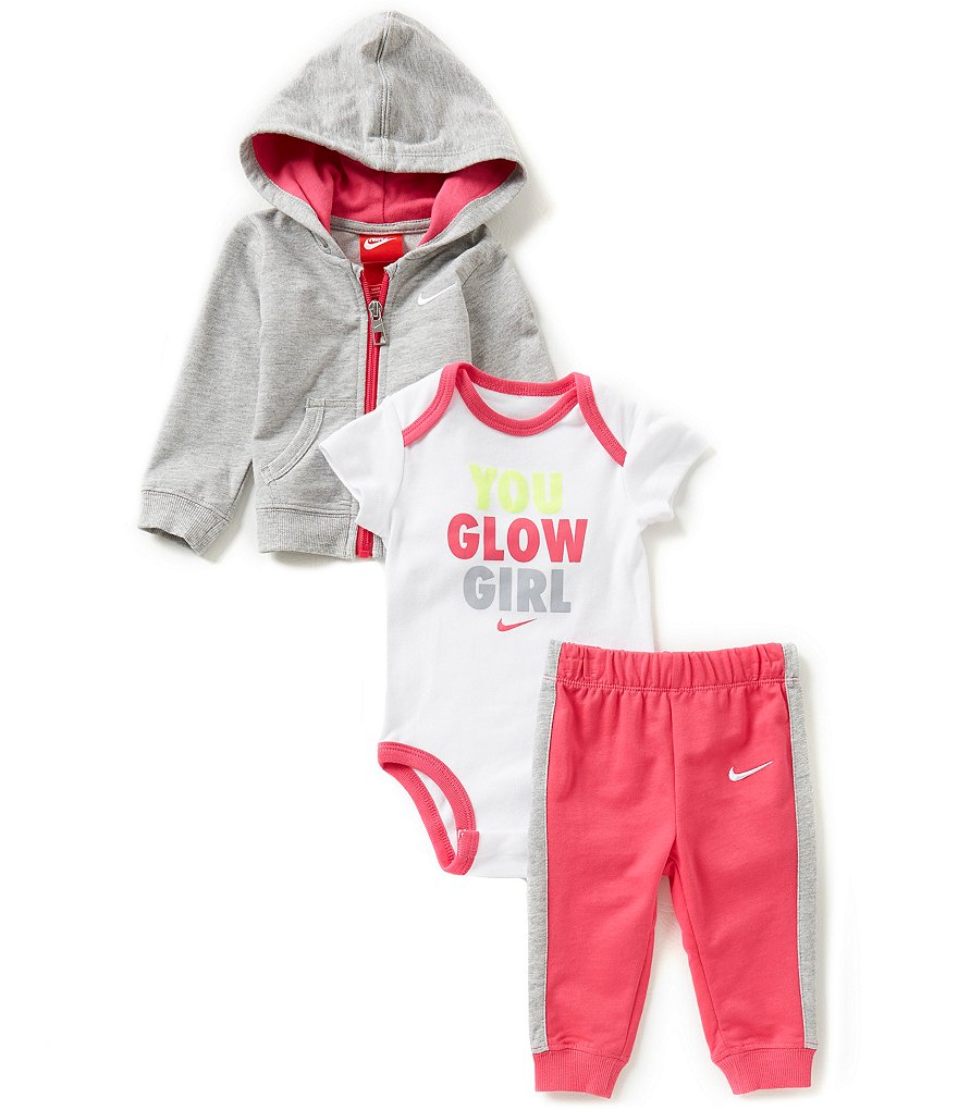 Nike Baby Girls Newborn-12 Months French Terry Hoodie Jacket, Color Block Pants, & You Glow Girl Short-Sleeve Bodysuit Set