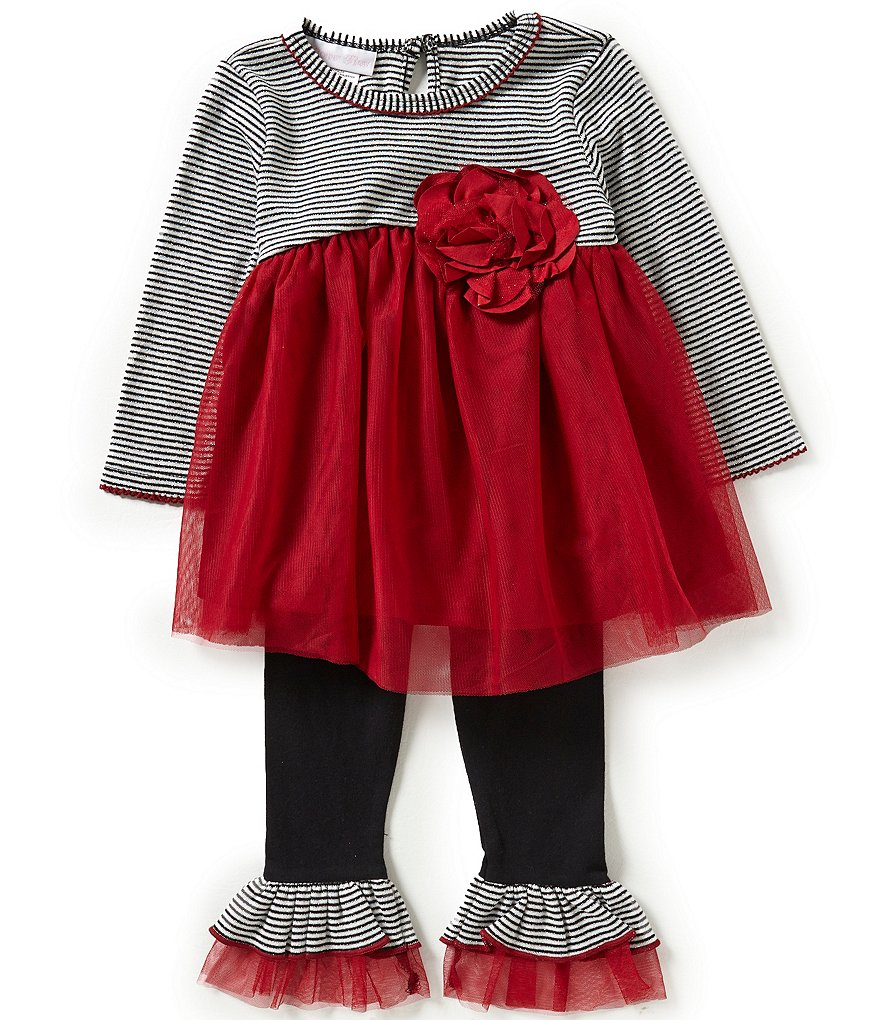 Bonnie Baby Girls 12-24 Months Stripe/Solid Dress and Leggings Set