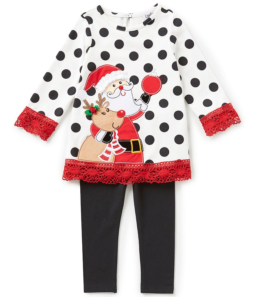 Rare Editions Baby Girls 12-24 Months Christmas Santa & Reindeer Dotted Dress & Solid Leggings Set
