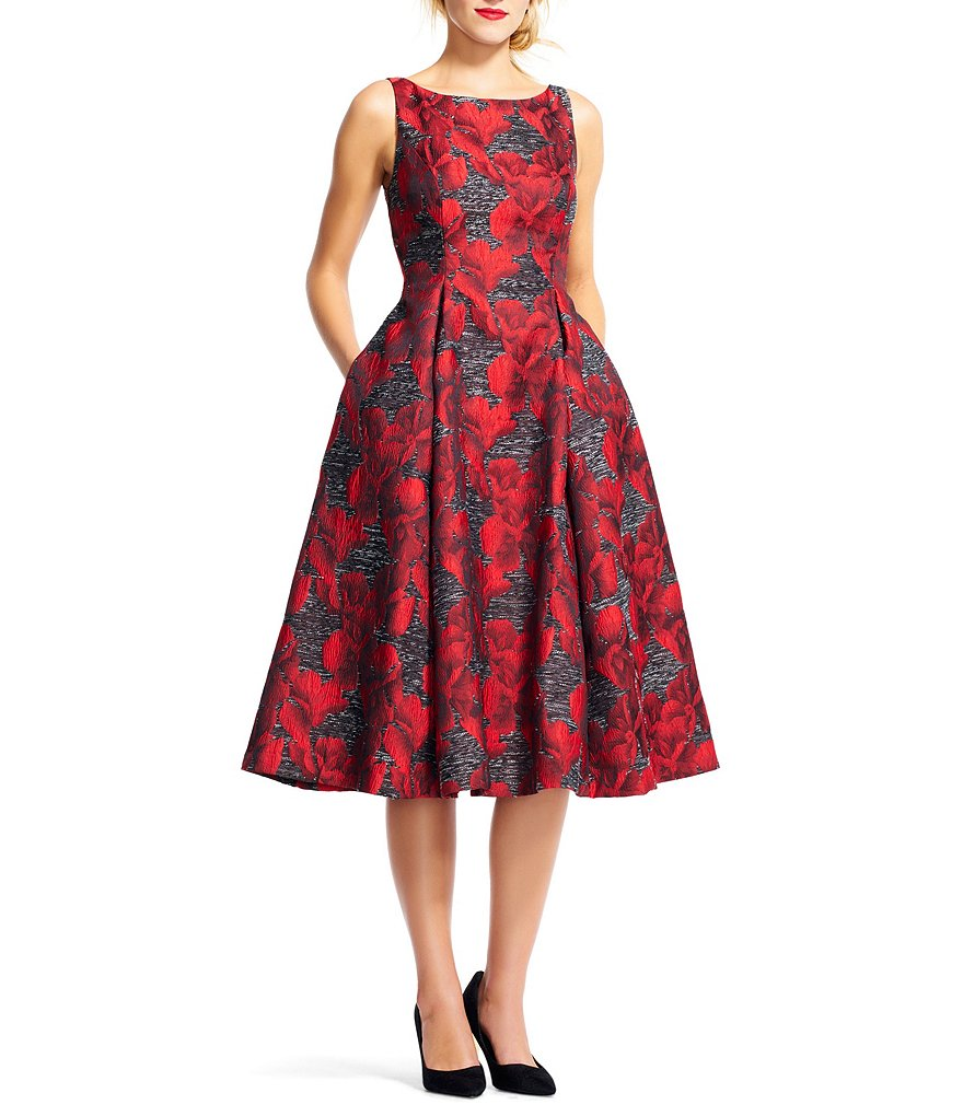Adrianna Papell Floral Jacquard Tea-Length Dress