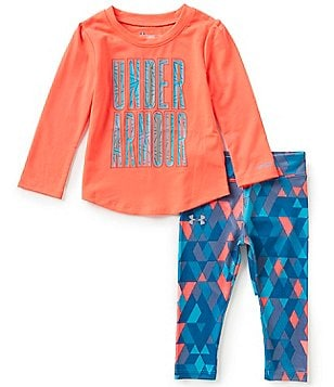 Under Armour Baby Girls 12-24 Months Logo-Detailed Long-Sleeve Tee & Geometric-Printed Pant Set