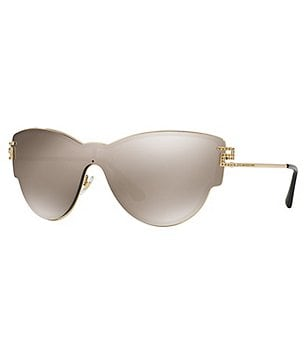 Versace Greca Strass Mirrored Cat-Eye Shield Sunglasses
