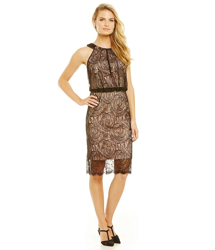 Adrianna Papell Halter Lace Illusion Sheath Dress