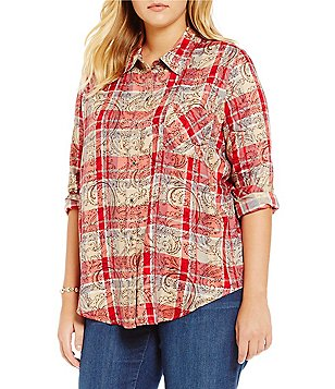 Westbound Plus Long Sleeve Pocket Button Front Shirt