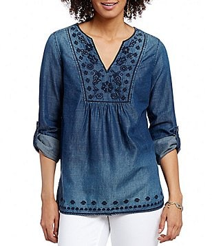 Code Bleu Embroidered and Bead Detailed Long Roll-Tab Sleeve Denim Top