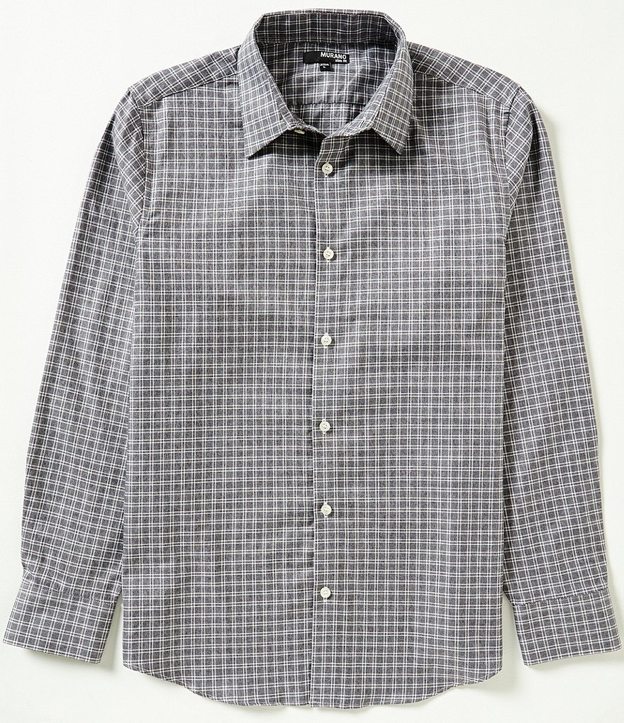 Murano Long-Sleeve Slim-Fit Checked Point Collar Sportshirt