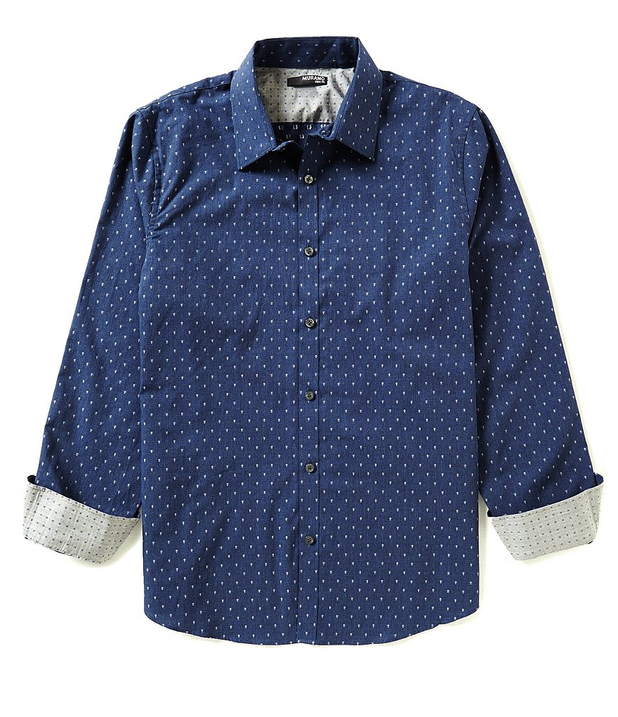 Murano Long-Sleeve Slim-Fit Heather Dot Print Point Collar Sportshirt