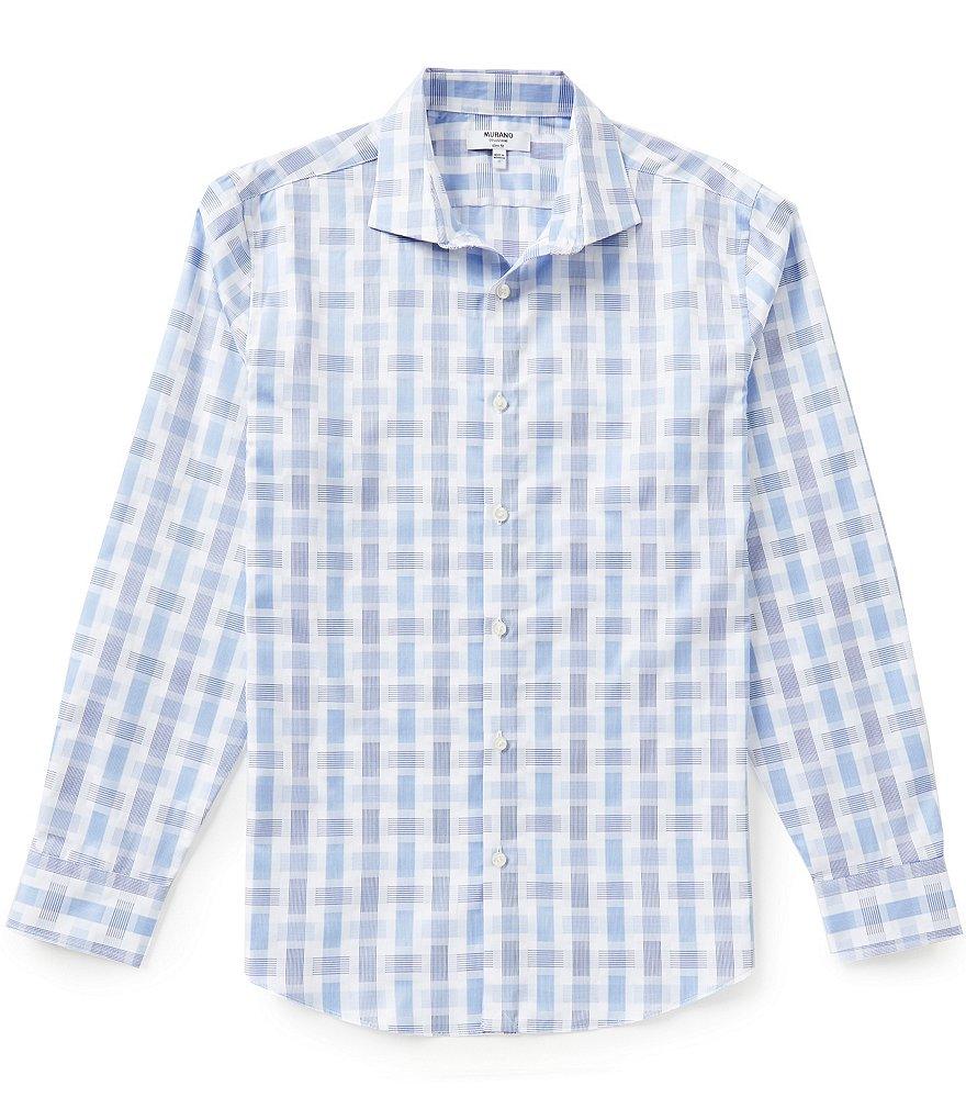 Murano Long-Sleeve Slim-Fit Plaid Spread Collar Sportshirt