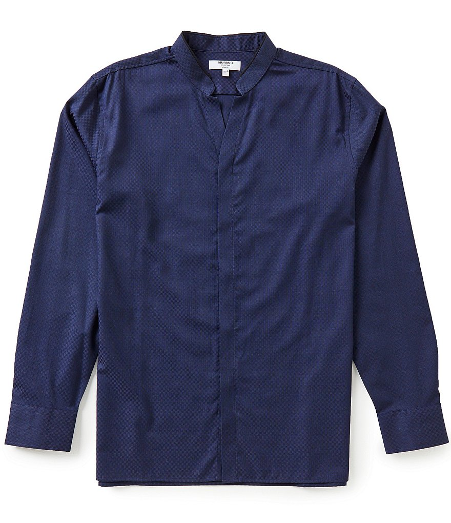 Murano Long-Sleeve Tonal Check Slim-Fit Mandarin Sportshirt