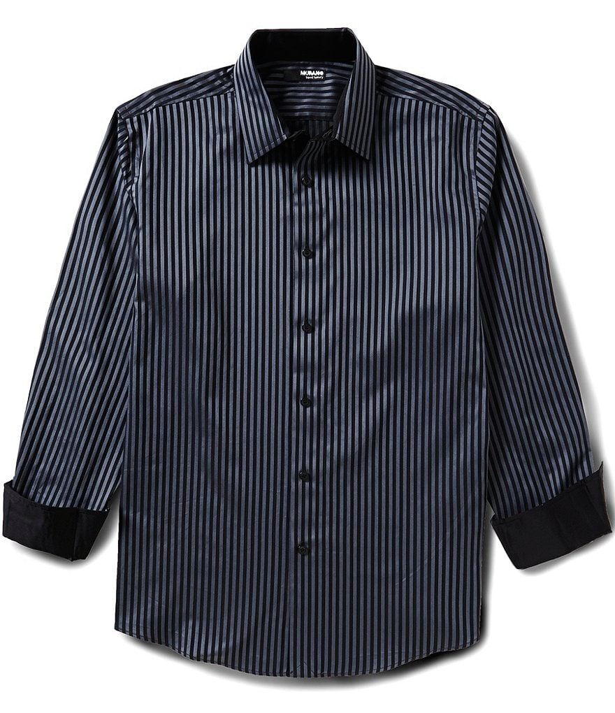 Murano Long-Sleeve Liquid Luxury Point Collar Striped Dobby Sportshirt