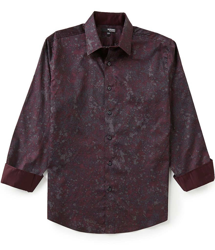 Murano Long-Sleeve Liquid Luxury Point Collar Printed Sportshirt