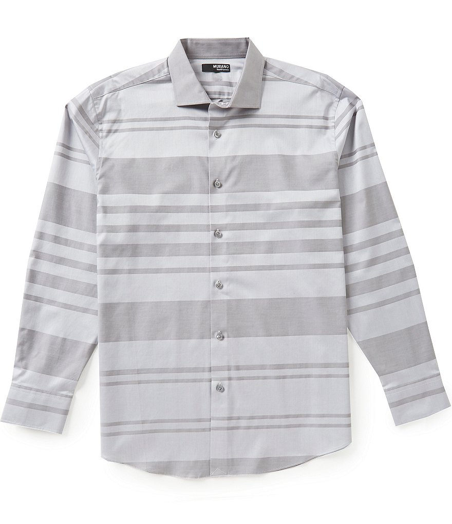 Murano Long-Sleeve Liquid Luxury Spread Collar Horizontal Striped Dobby Sportshirt