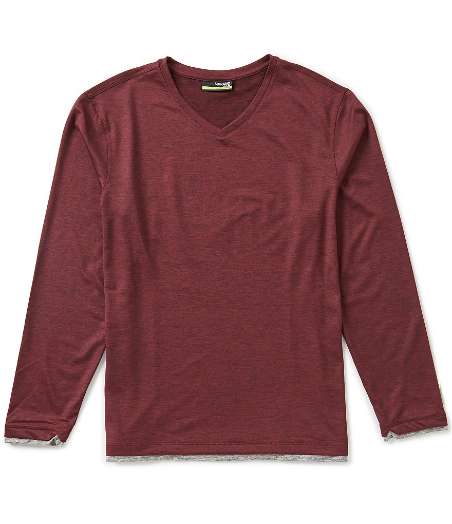 Murano Long-Sleeve Slim-Fit Performance V-Neck Knit Shirt