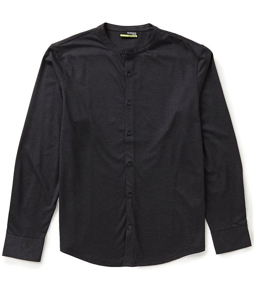 Murano Long-Sleeve Slim-Fit Performance Coatfront Solid Knit Shirt