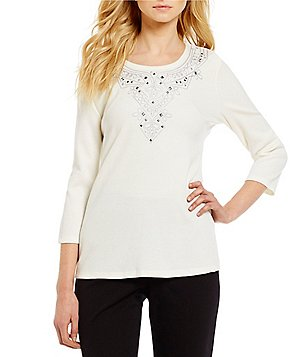 Allison Daley Petite Crew Neck 3/4 Sleeve Embroidered Solid Top