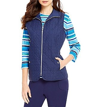 Allison Daley Petite Zip Front Quilted Lined Vest