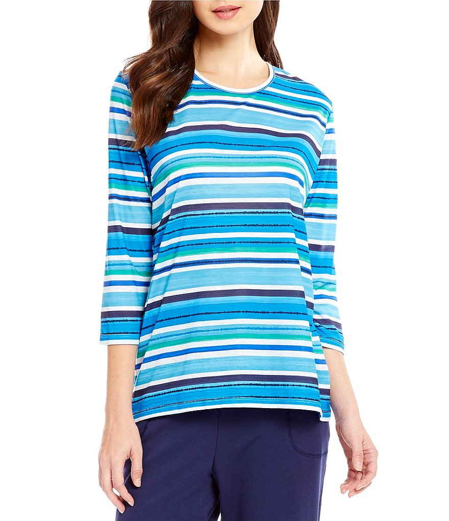 Allison Daley Petite Knit 3/4 Sleeve Crew Neck Top