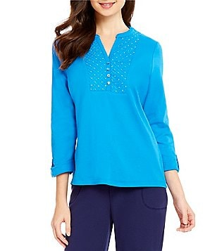 Allison Daley Petite Y-Neck 3/4 Sleeve Knit Top with Embroidered Yoke