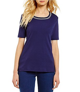 Allison Daley Petite Crew Neck Short Sleeve Embellished Knit Top