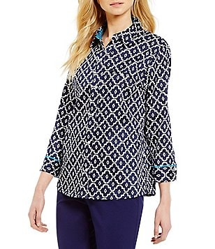 Allison Daley Petite Y-Neck 3/4 Sleeve Printed Stretch Sateen Blouse
