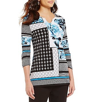 Allison Daley Petite Notch V-Neck Printed 3/4 Sleeve Tunic