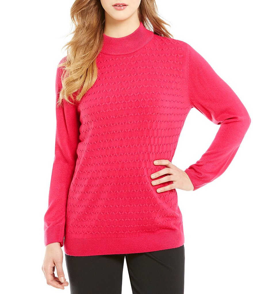 Allison Daley Petite Mock Neck-Pullover Sweater