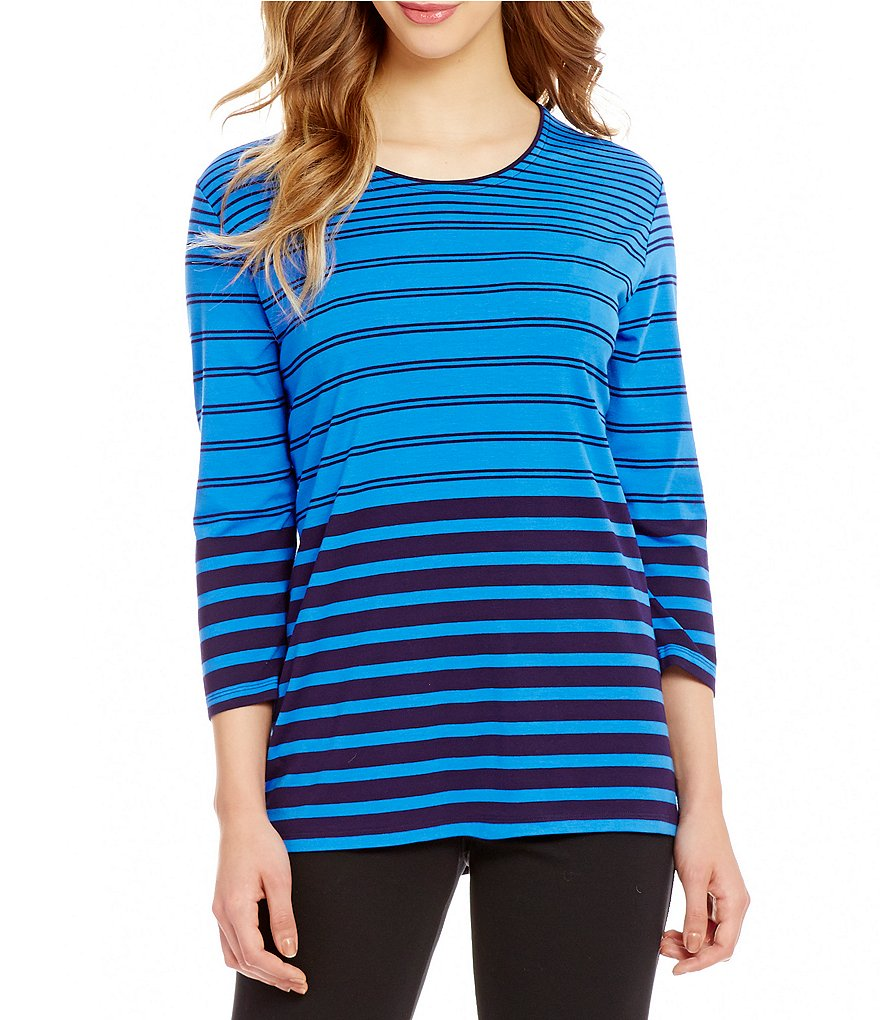 Allison Daley Petite Crew-Neck Stripe Print Knit Top
