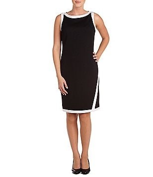 Allison Daley Petite Sleeveless Color Contrast Trim Sheath Dress