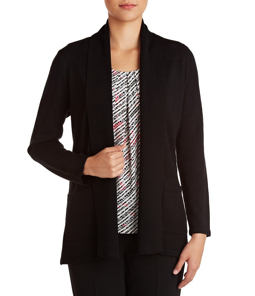Allison Daley Petite Open Front Shawl Collar Cardigan
