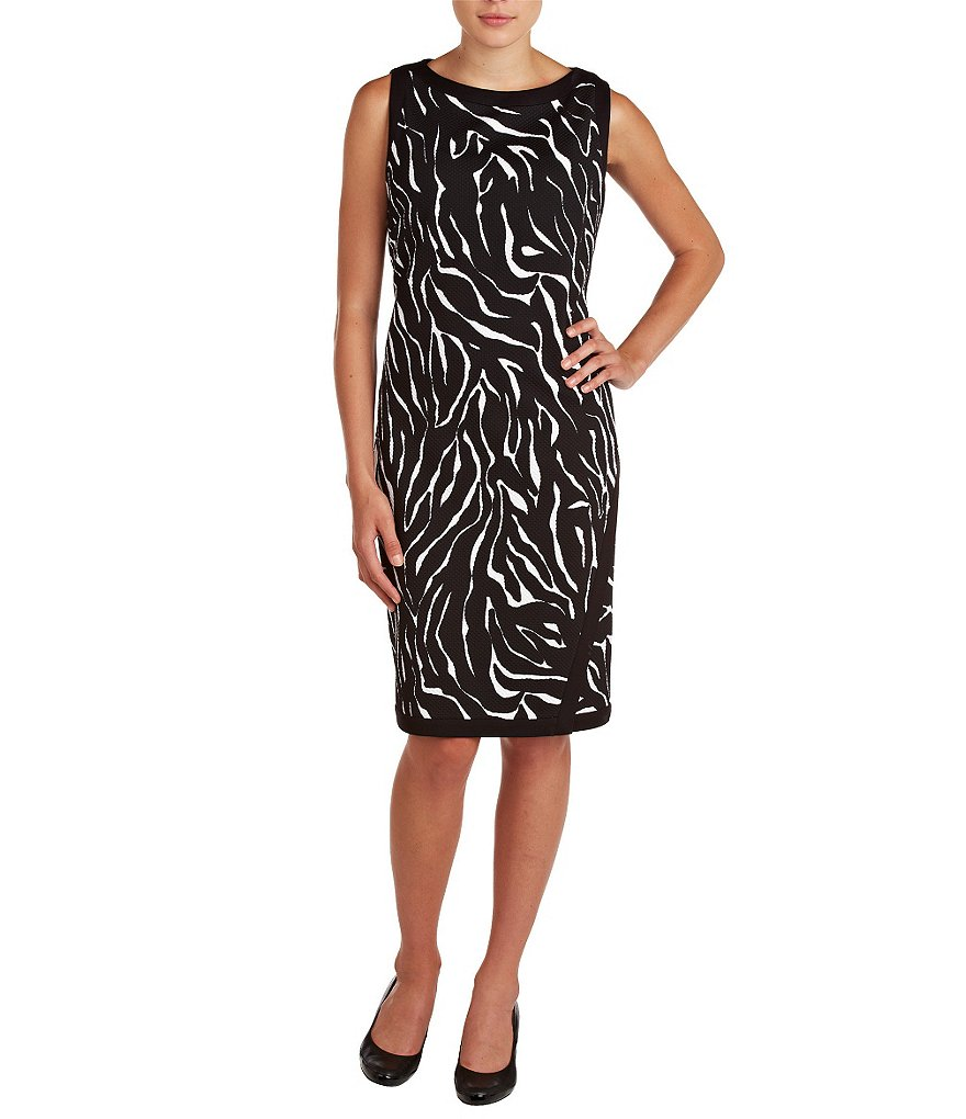 Allison Daley Petite Sleeveless Faux-Wrap Printed Dress