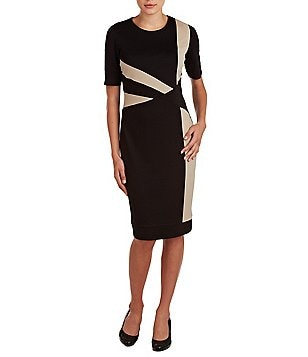 Allison Daley Petites Jewel Neck Sheath Dress