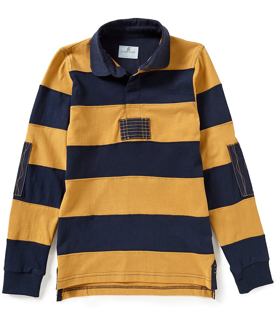 Class Club Big Boys 8-20 Horizontal-Striped Rugby Long-Sleeve Elbow-Patch Shirt