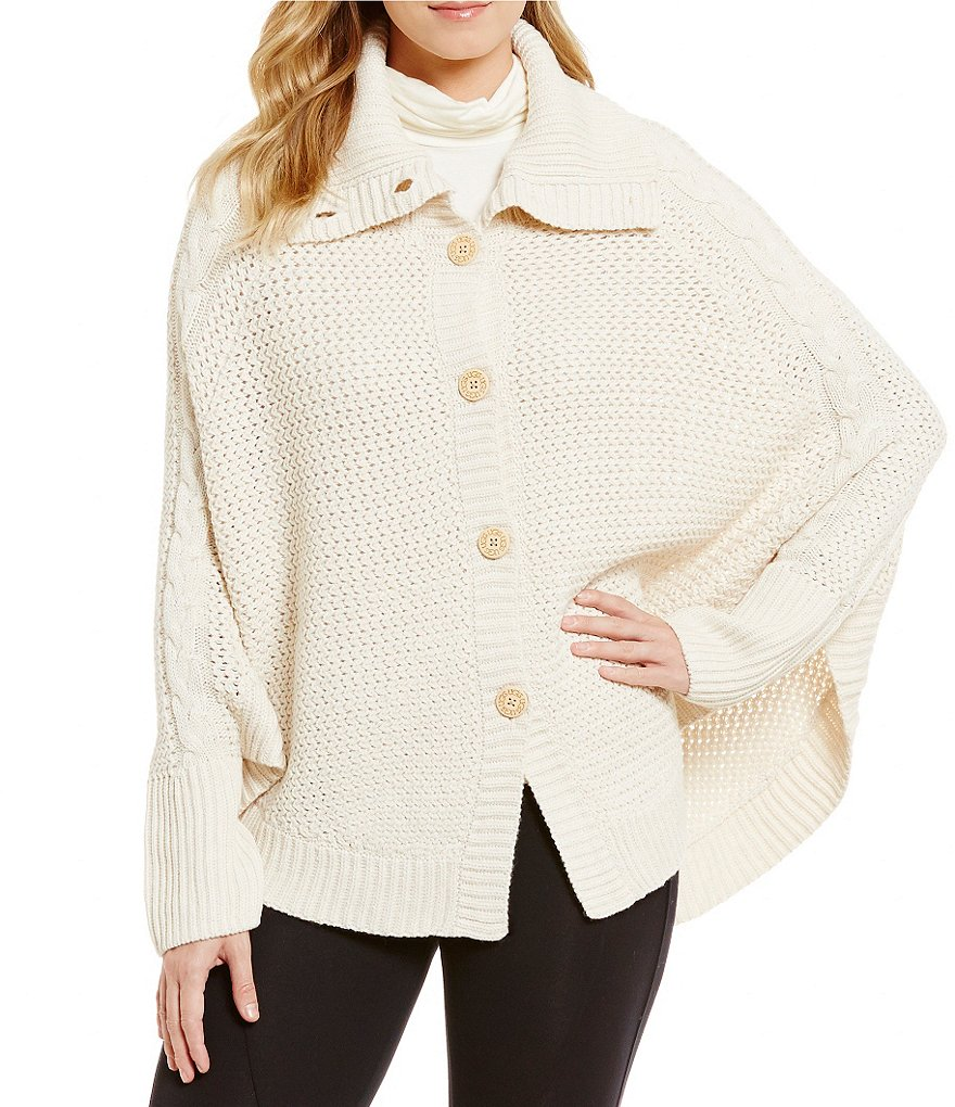 UGG® Maribeth Button Front Cape Chunky Sweater