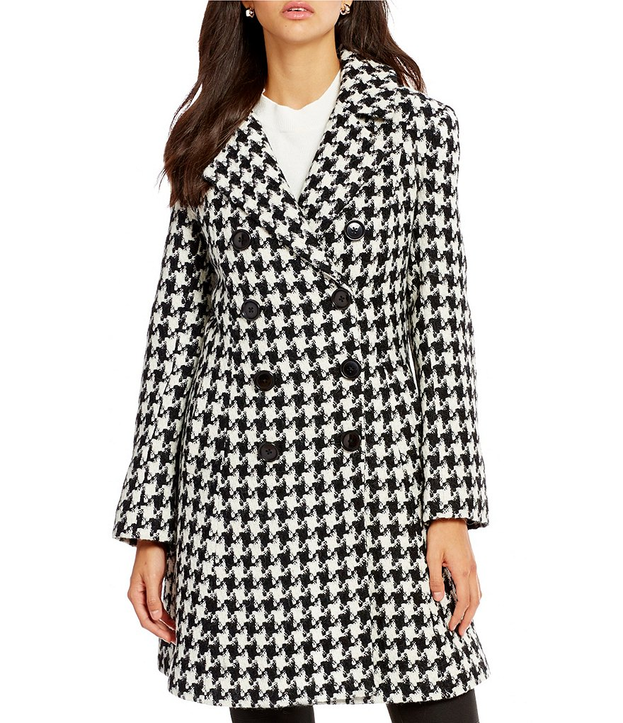 Katherine Kelly Double Breasted Houndstooth Alpaca Blend Walker Coat