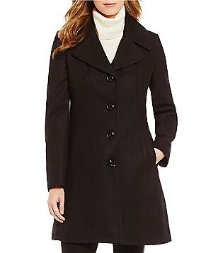 Anne Klein Single Breasted Flair A-Line Wool Walker Coat