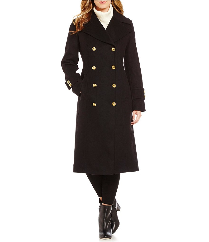 Anne Klein Double Breasted Wool Cashmere Blend Walker Coat