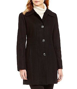 Anne Klein Single-Breasted Mid-Length Wool Jacket