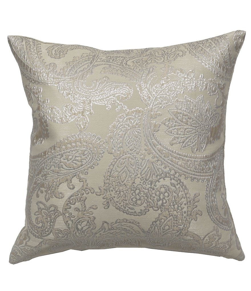 The Art of Home from Ann Gish Arabesque Metallic Paisley Jacquard Square Pillow